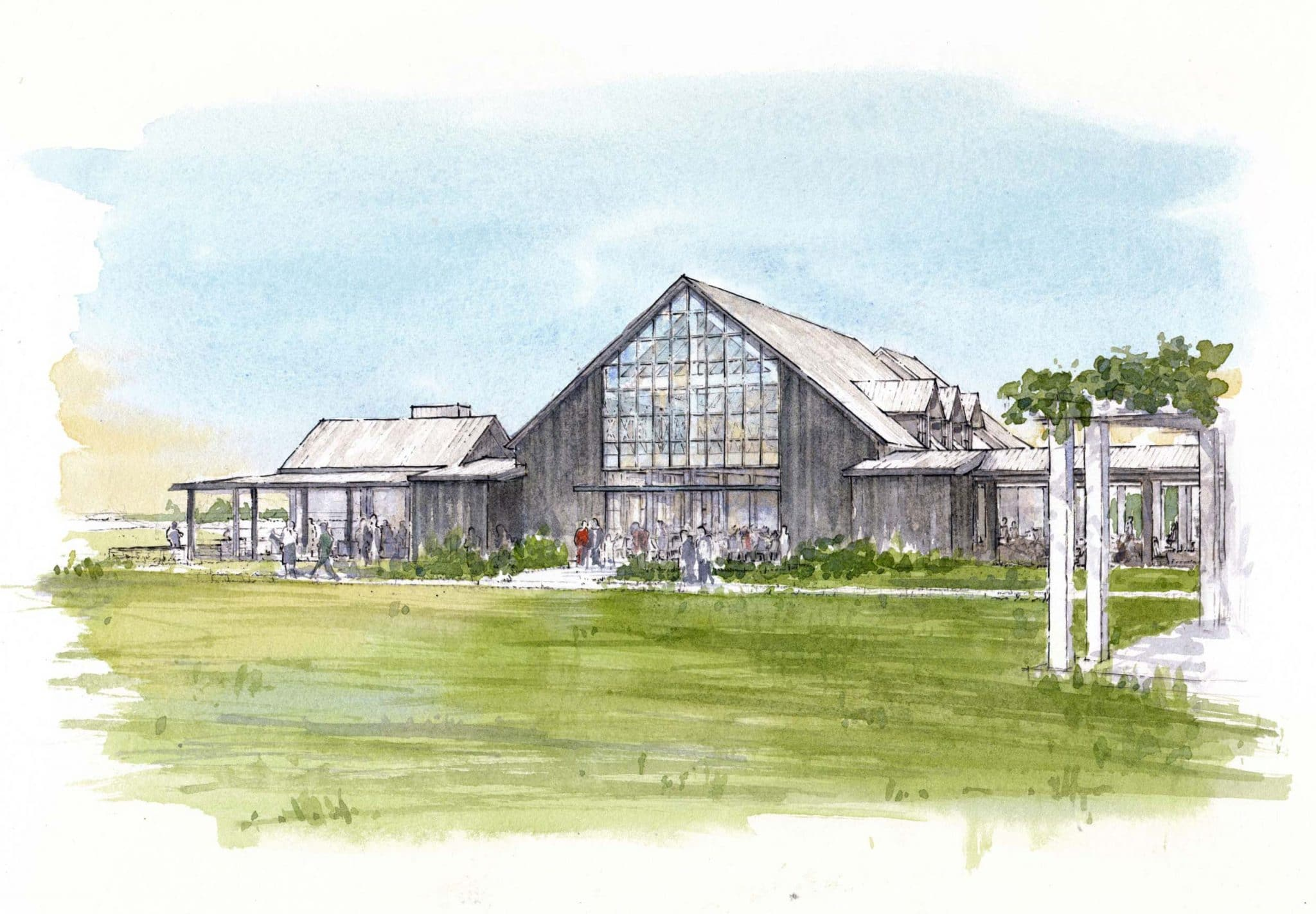 rendering of the hall event space at kiawah river development