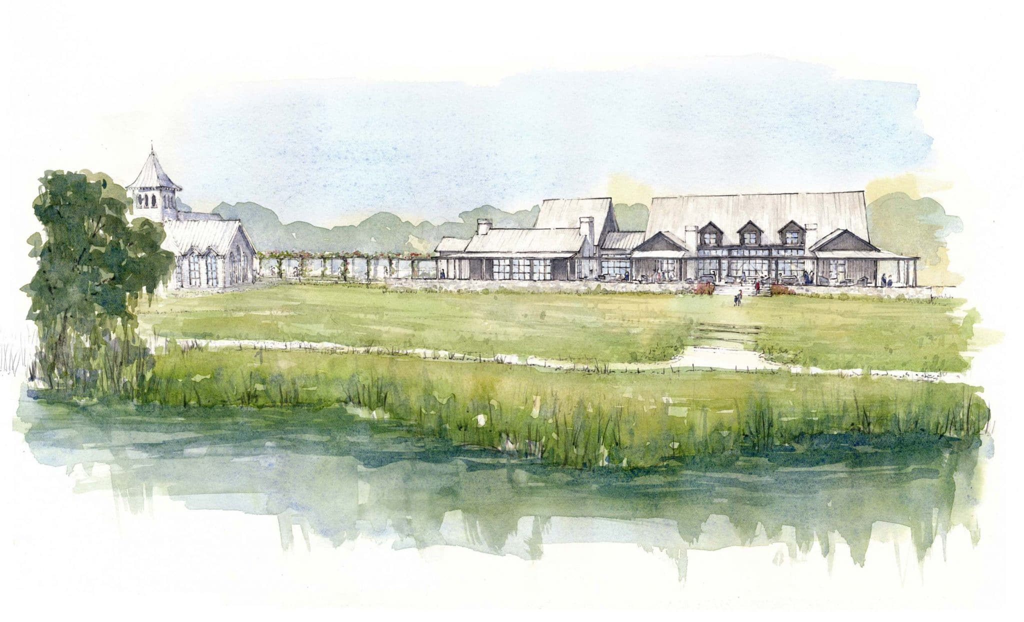 rendering of the hall and chapel at kiawah river development