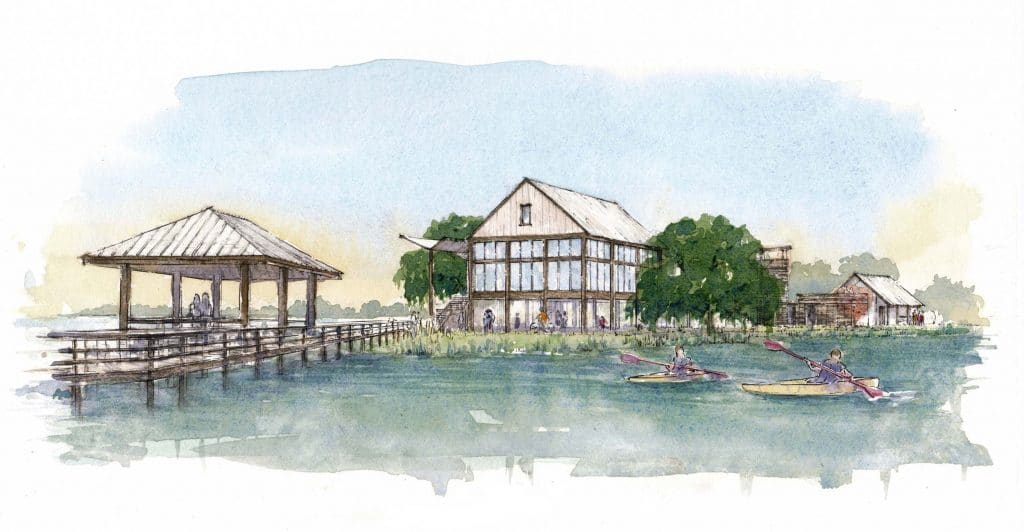 rendering of restaurant and pier with kayakers at kiawah river development
