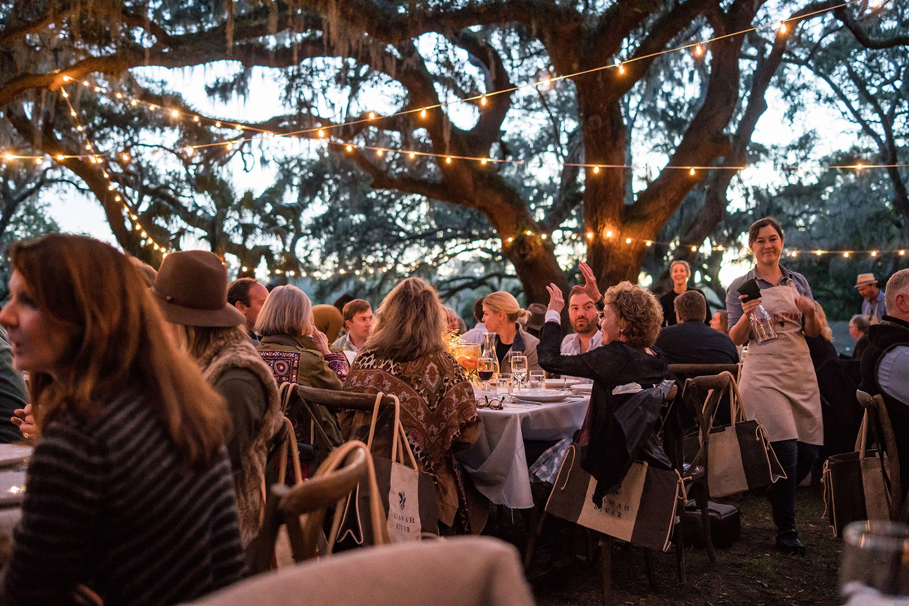 dinner event outside under live oak trees