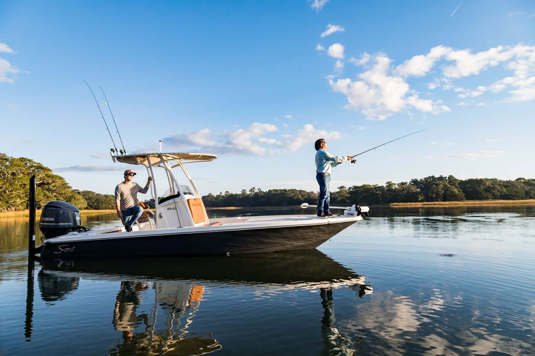 fishing from scout boat at kiawah river development